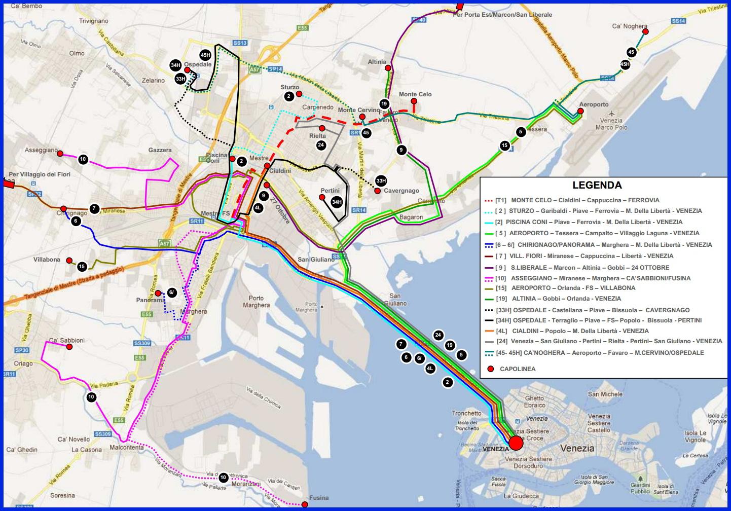 Венеция_схема автобусных маршрутов островной и материковой части города