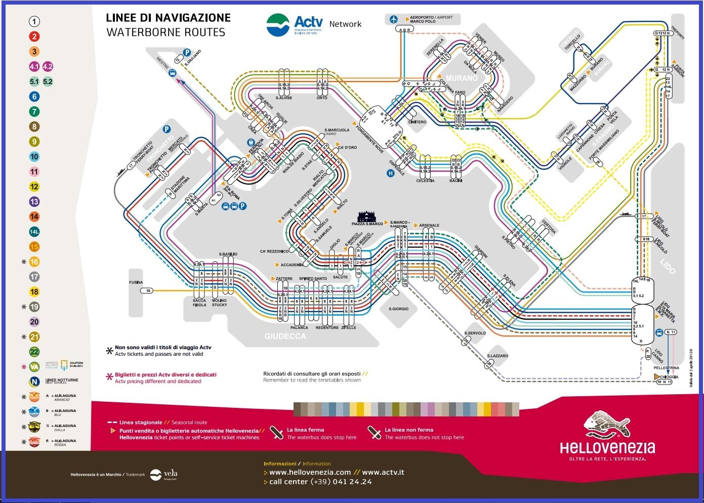 Венеция_Вапоретто_схема маршрутов водного транспорта