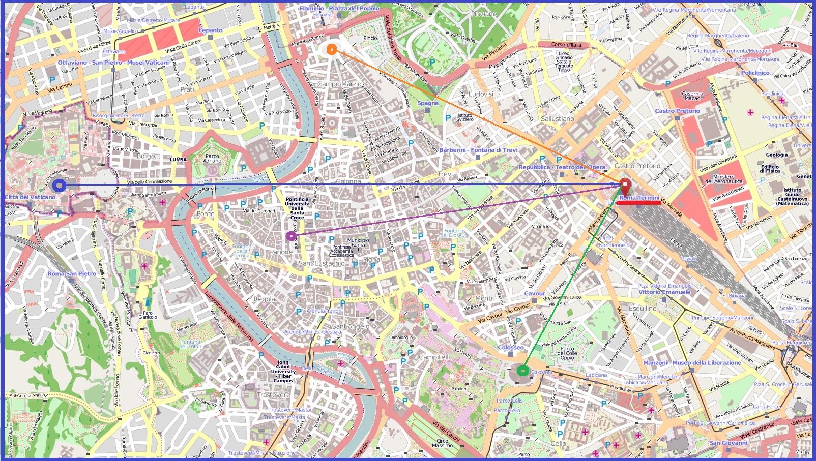 Вокзал Термини на карте Рима