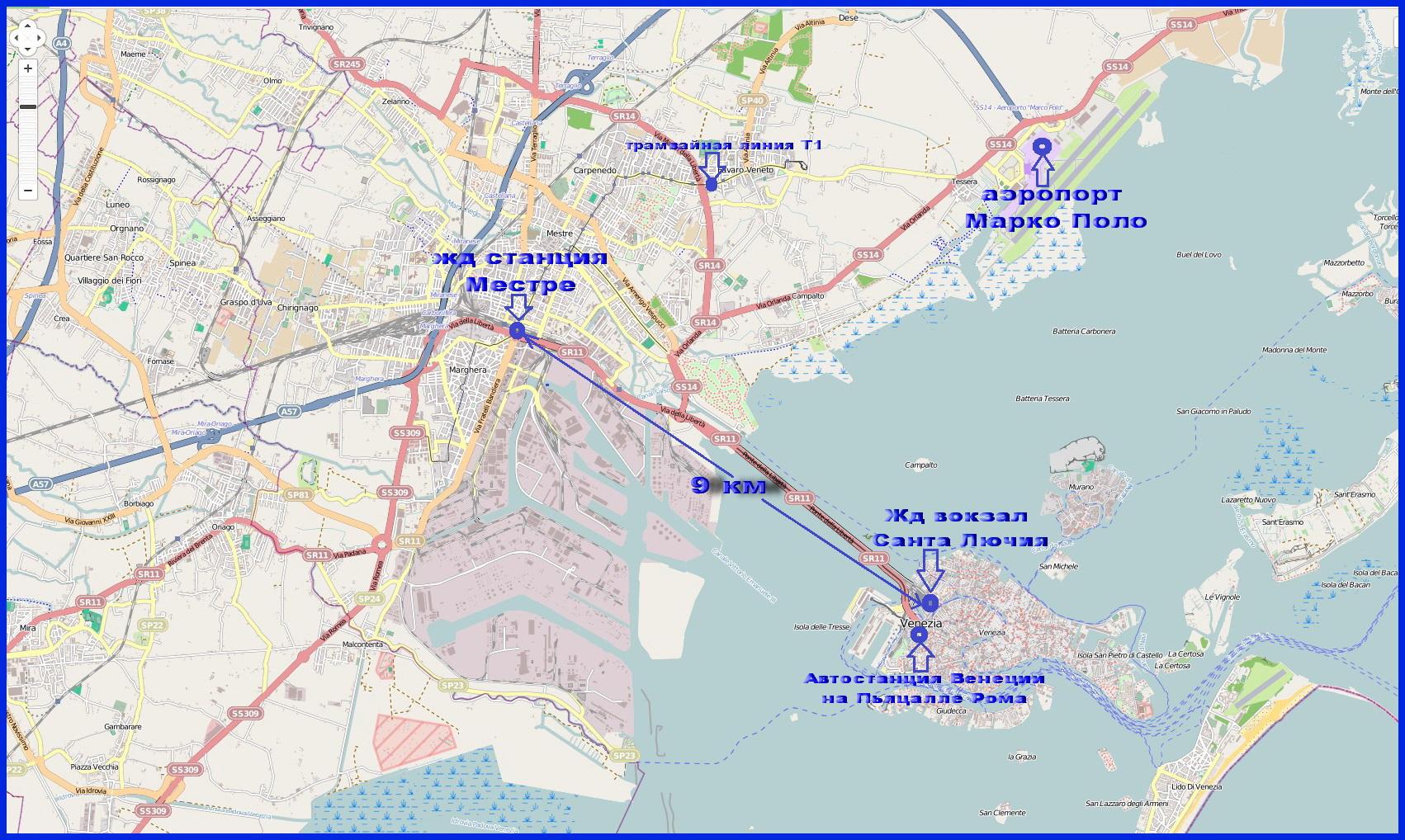 Жд вокзалы Венеции и Местре на карте