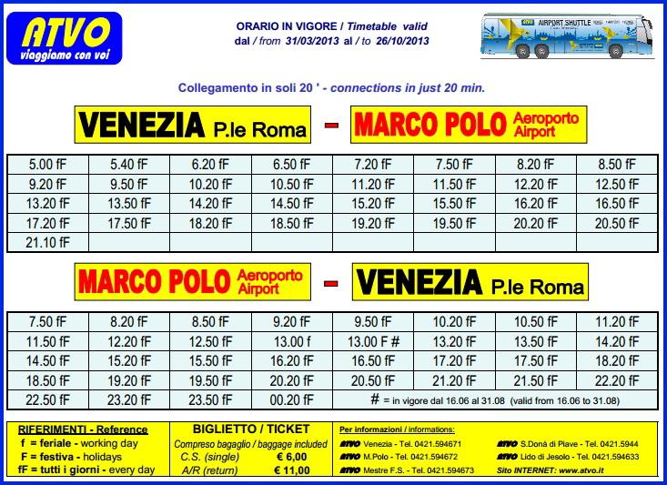Расписание шатла Аэробас от аэропорта Венеции Марко  Поло до центра города с 31 марта до 26 октября 2013 года