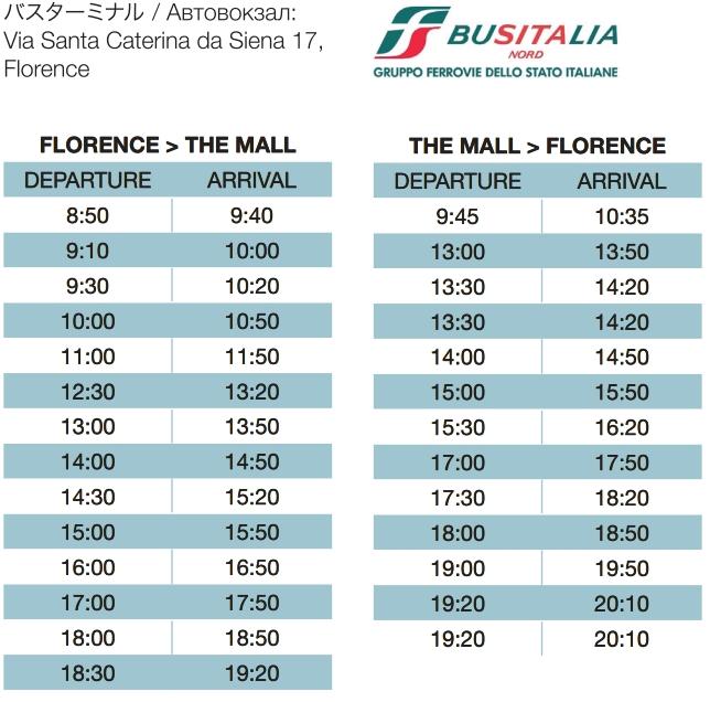 Расписание шатлового автобуса Флоренция - аутлет The Mall