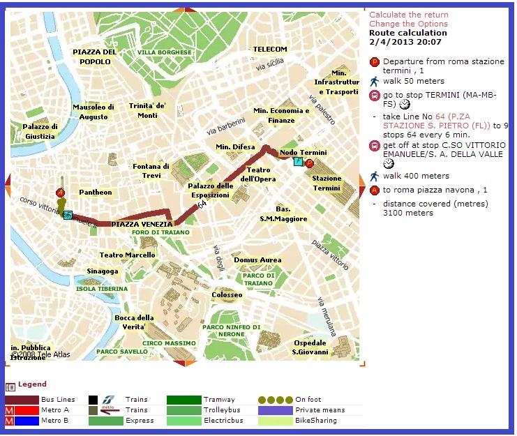 Расчет маршрута на транспорте в Риме