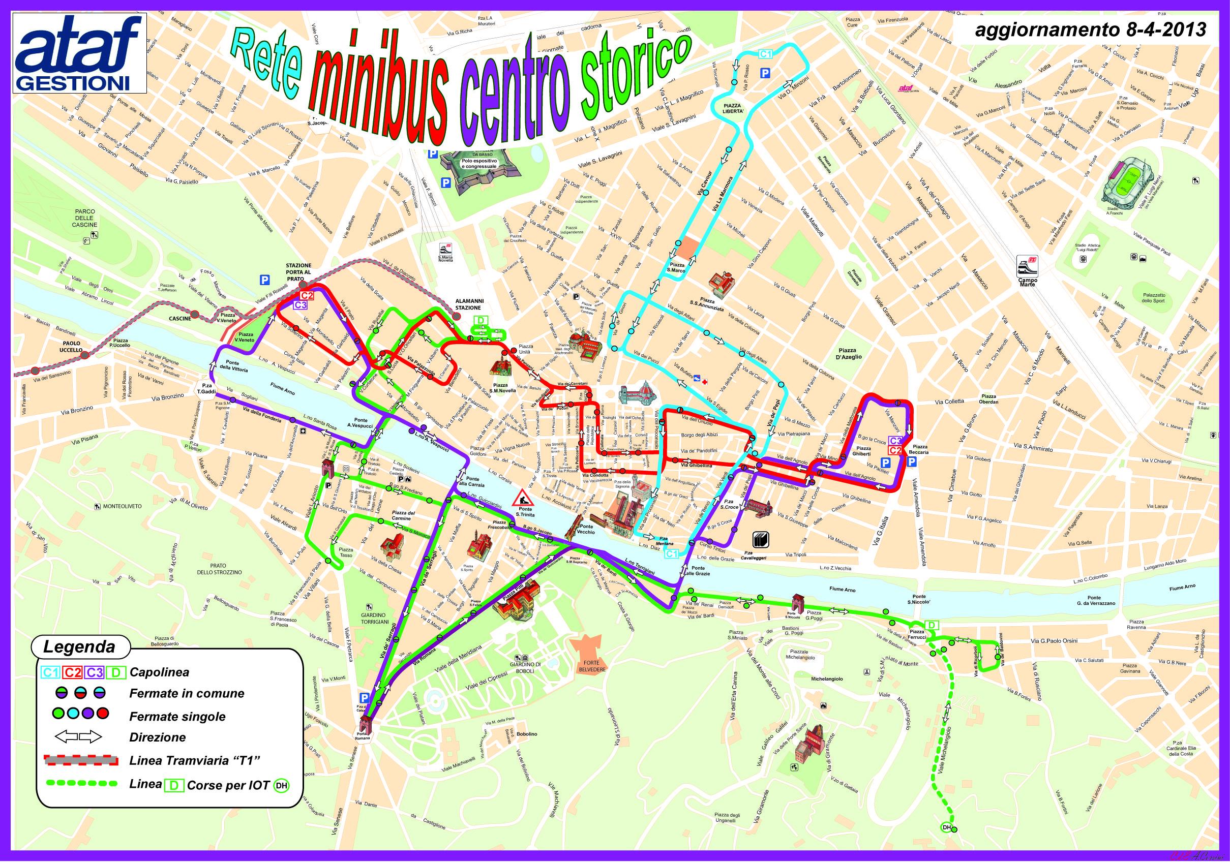 Флоренция_схема автобусных маршрутов по историческому центру города