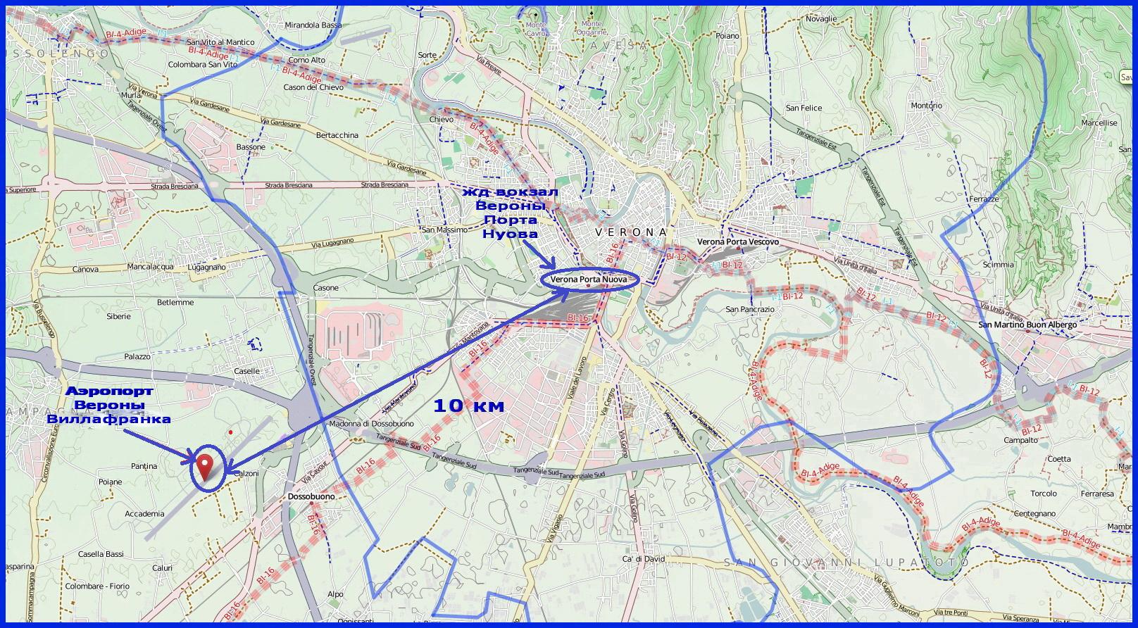 Аэропорт Вероны на карте