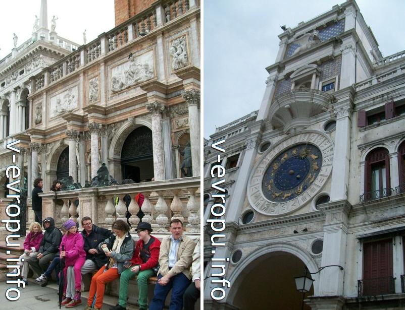 Вход в лифту а смотровую площадку колокольни Сан Марко на площади Дожей в Венеции (слева)