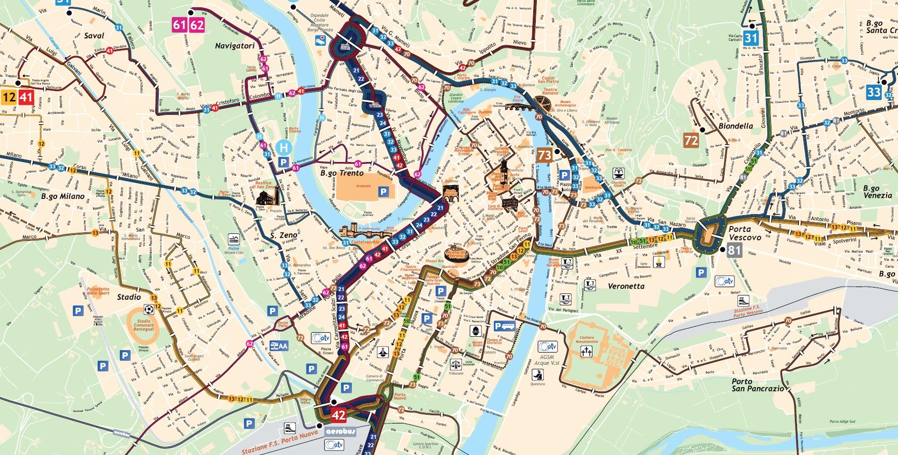 Венора_Схема автобусных маршрутов центра города