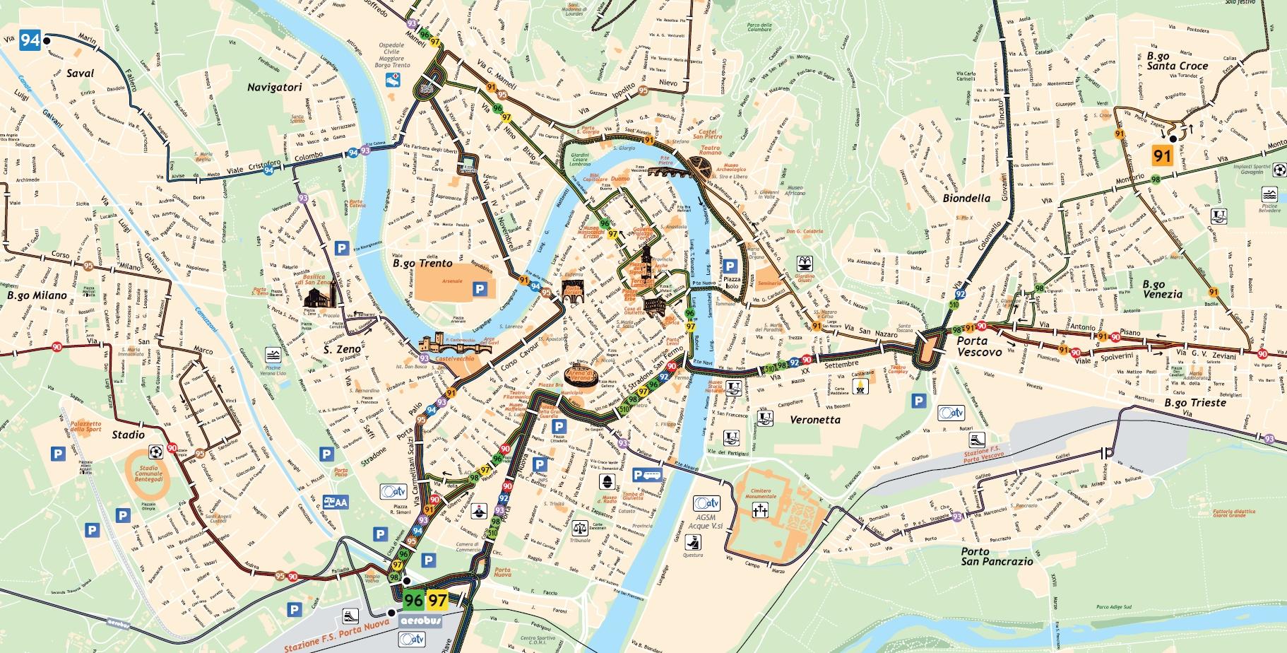 Верона_схема вечерних автобусных маршрутов в центре города