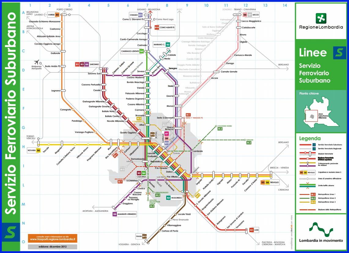 Милан_схема пригородных электричек линий S Тренорд