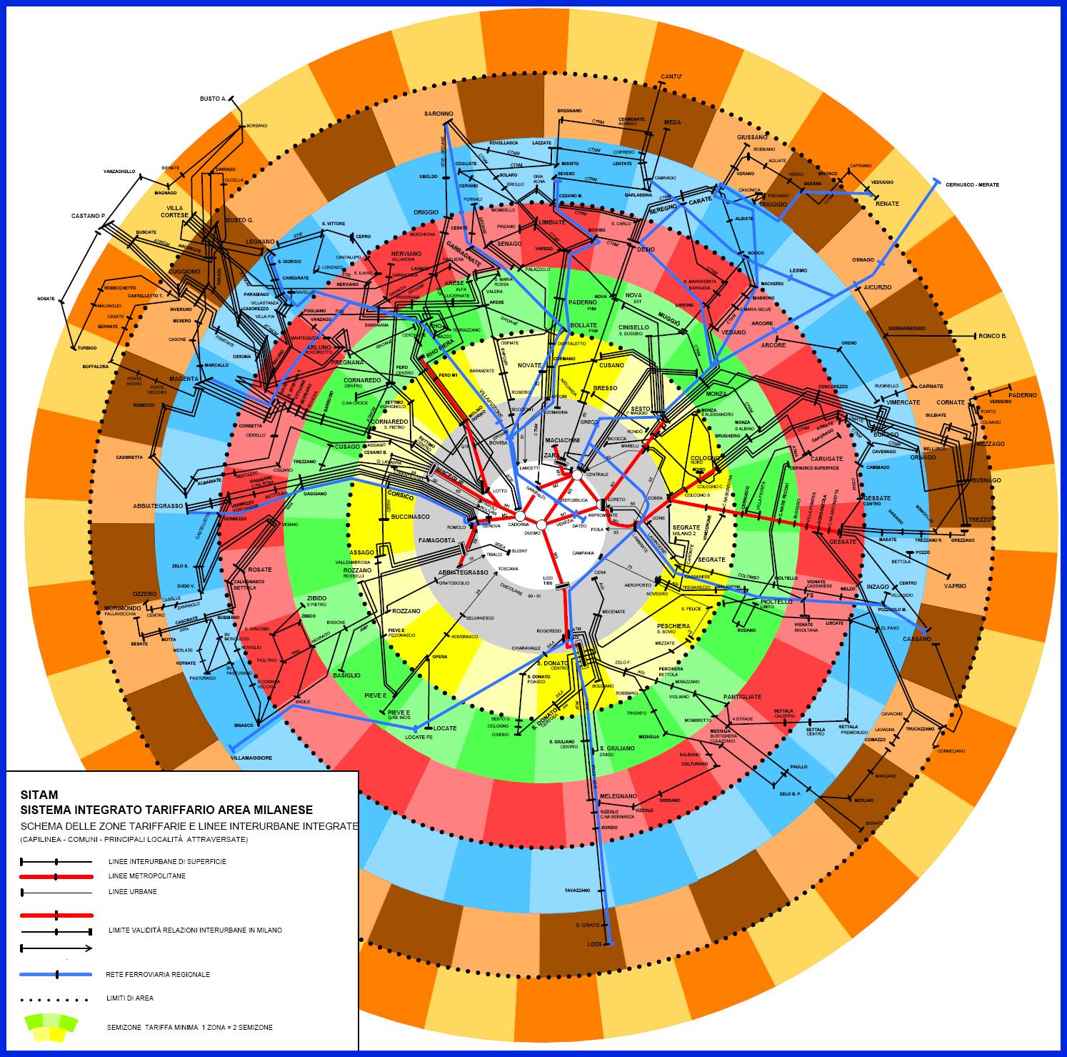 Милан_транспорт_схема тарифных зон