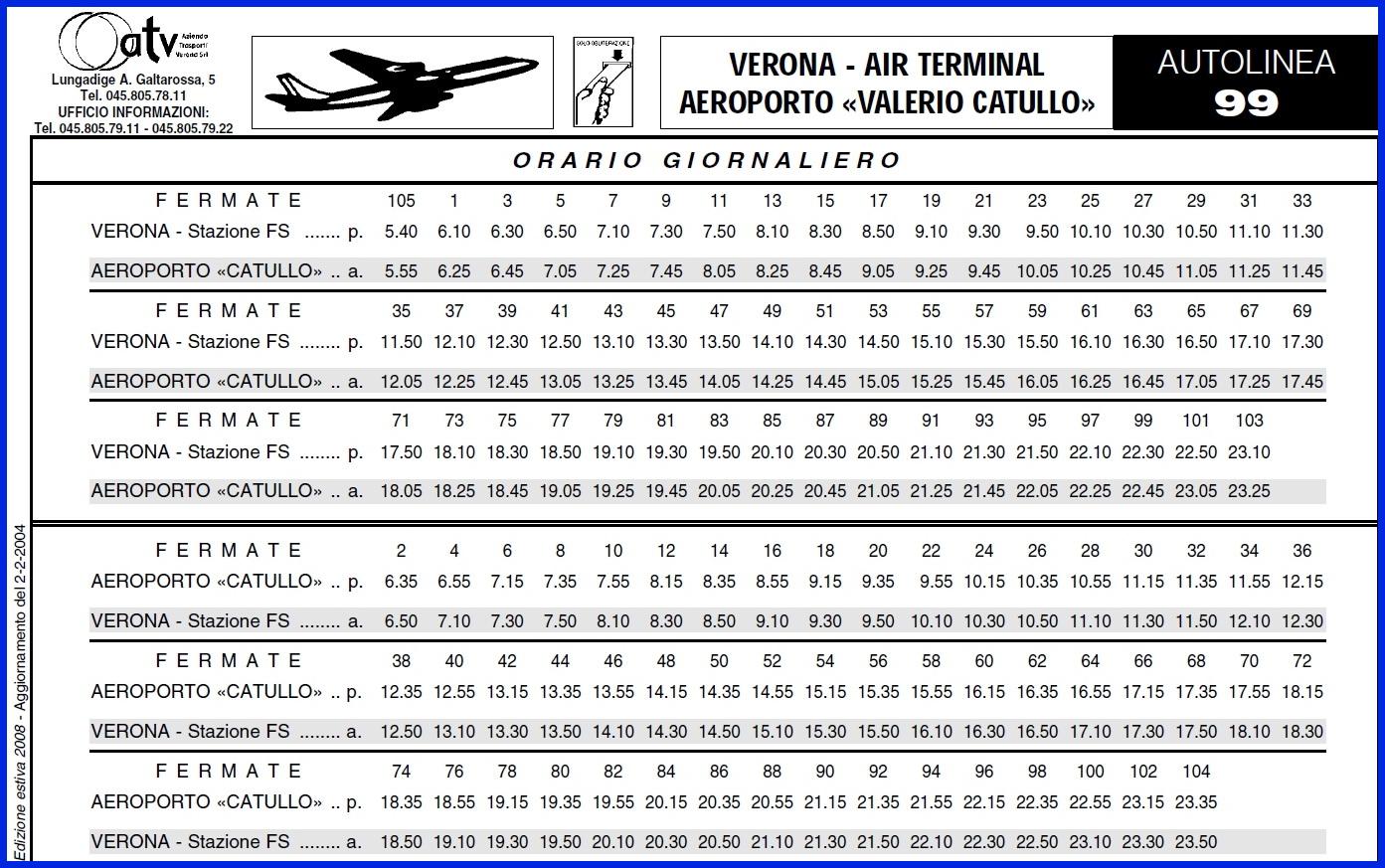 Расписание аэроавтобуса Верона-аэропорт Виллафранка