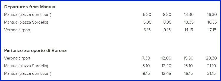 Расписание шатлового автобуса из Мантуйи до аэропорта Вероны