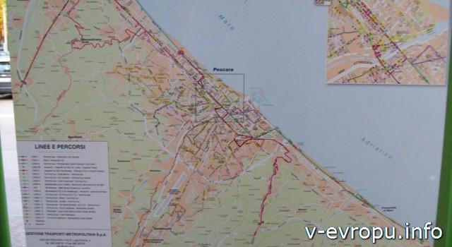 Аэропорт Пескары Абруццо - схема движение городского транспорта на автобусной остановке