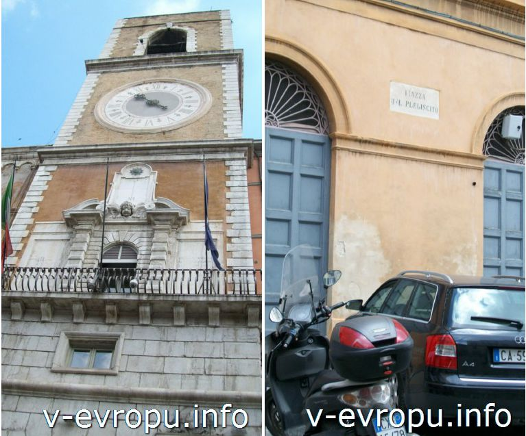 Анкона. Площадь Папы (Пьяцца Плебесцито). Фото. Городская Башня с часами 16 век