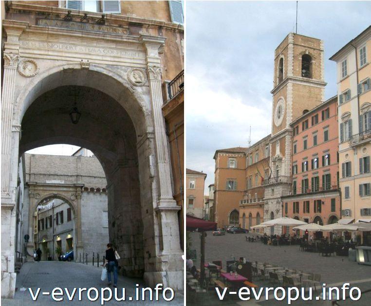 Анкона. Площадь Папы Пьяцца Плебесцито: Дворец Правительства (слева) и Городская башня (справа)