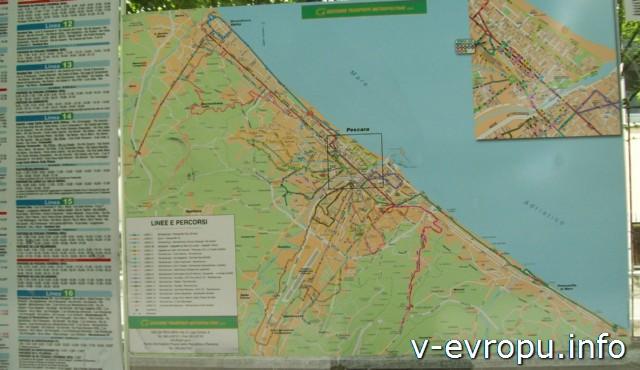 Транспорт Пескары: схема маршрутнов городских автобусов на остановках