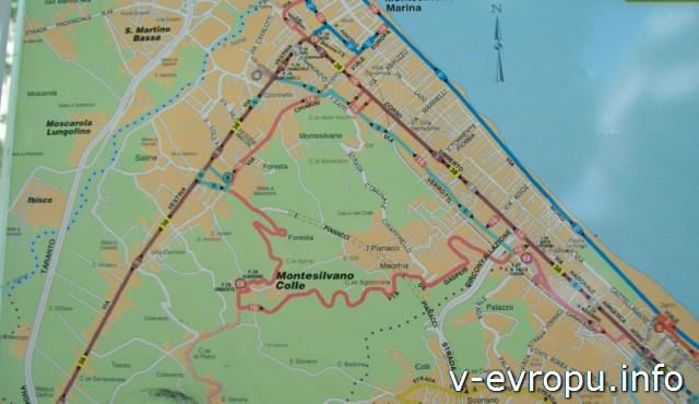 Транспорт Пескары: схема автобусных маршрутов на остановке