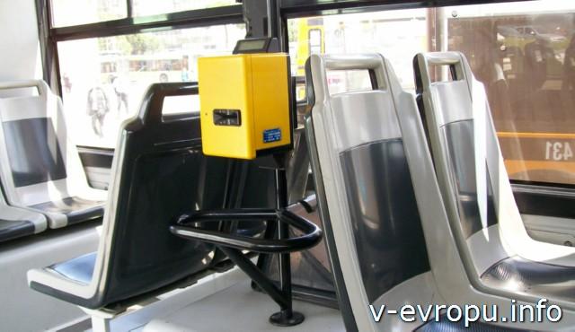 Транспорт Пескары: компостер в автобусе