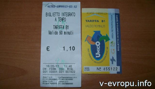 Транспорт Пескары: проездные билеты на автобус, купленные в автомате и в газетном киоске