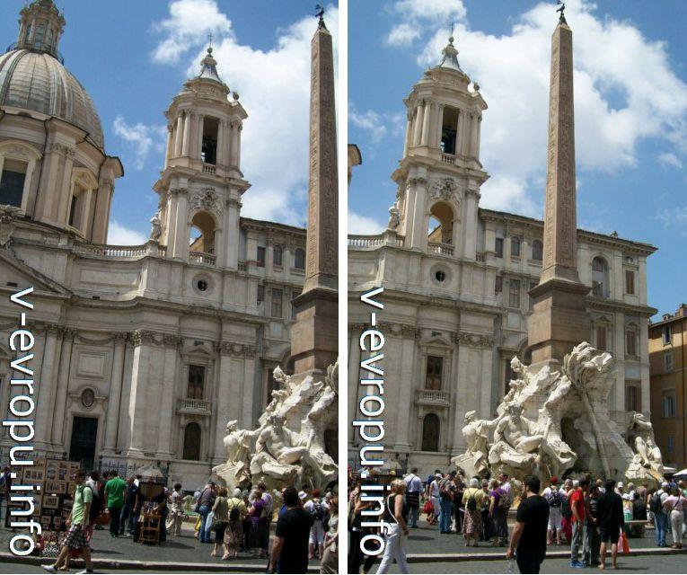 Рим. Правая башня церкви Св Агнессы и фонтан Четырех Рек