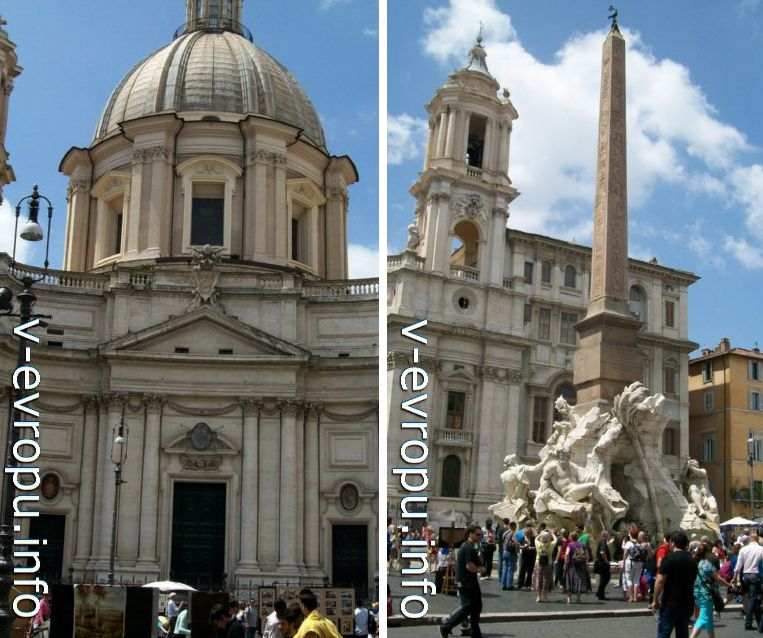 портал, барабан и купол Церкви Сант Аньезе (слева) и одна из башен фасадного ансамбля церкви Сант Аньезе (справа)