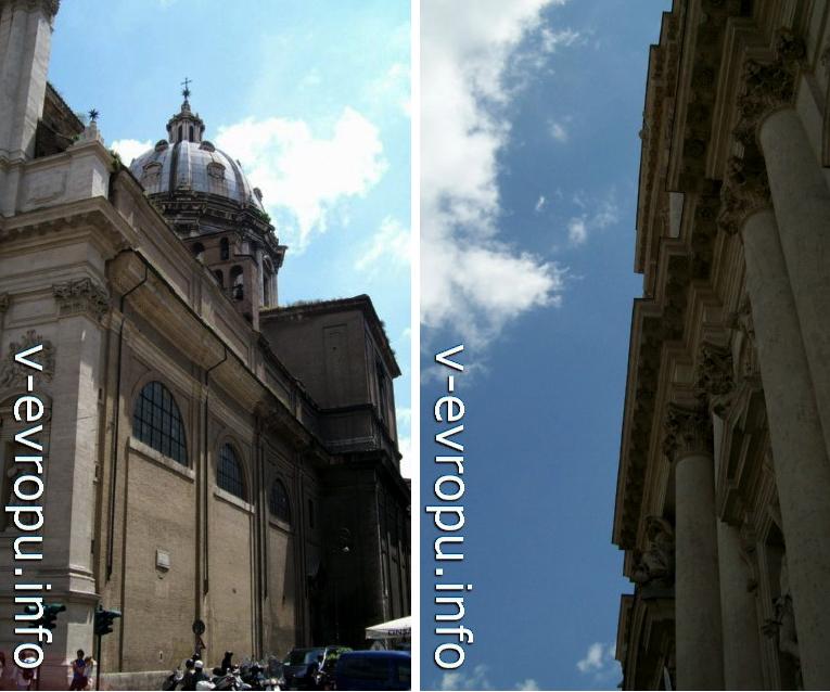 Рим. Церковь Сан Андреа делла Валле. Купол (слева) и раскрепованный фасад (справа)