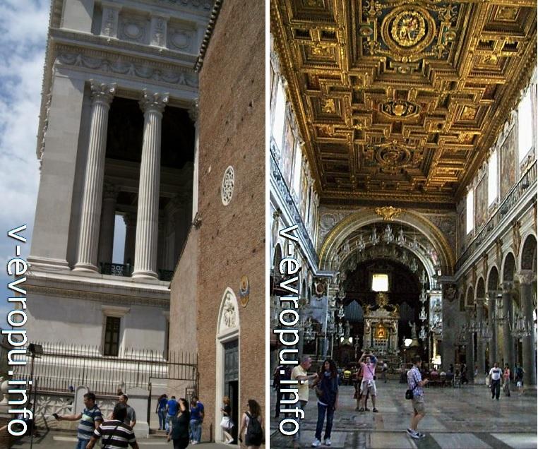Вход в базилику Санта Мария ин Арачели (слева) и кессонный потолок церкви