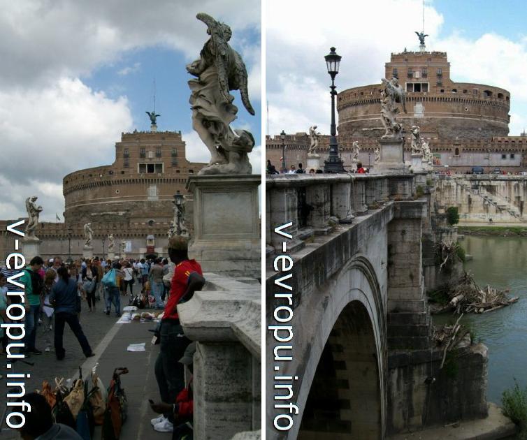 Уличные торговцы на Мосту Святого Ангела в Риме
