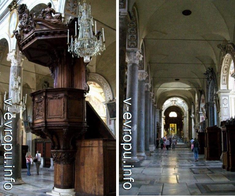 Деревянная кафедра и боковой неф базилики Санта Мария ин Арачели