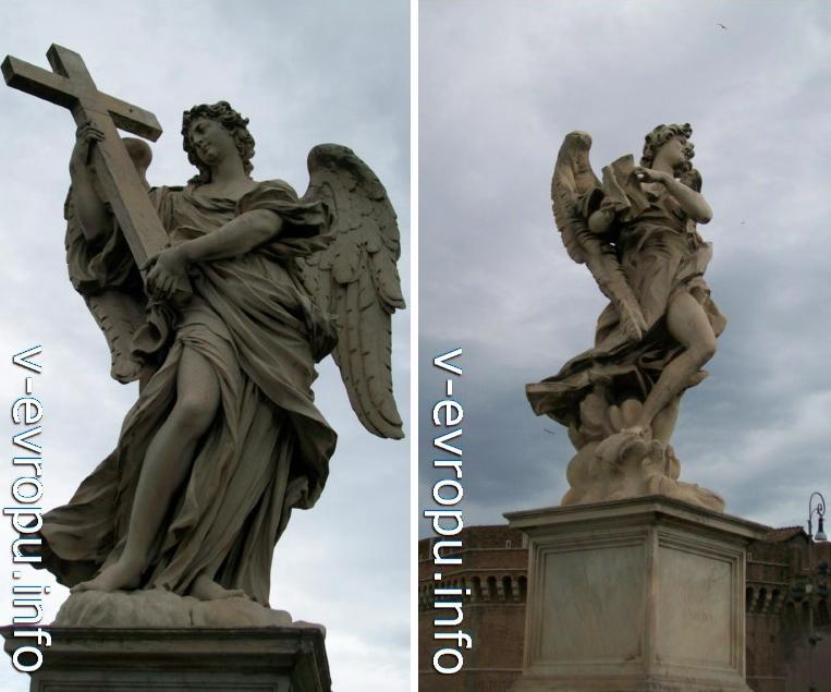 """Рим. Скульптуры Ангелов моста Sant'Angelo с Орудиями Крестных Страданий Спасителя. Слева ангел держит Крест, справа: Табличку с надписью """"INRI"""""""