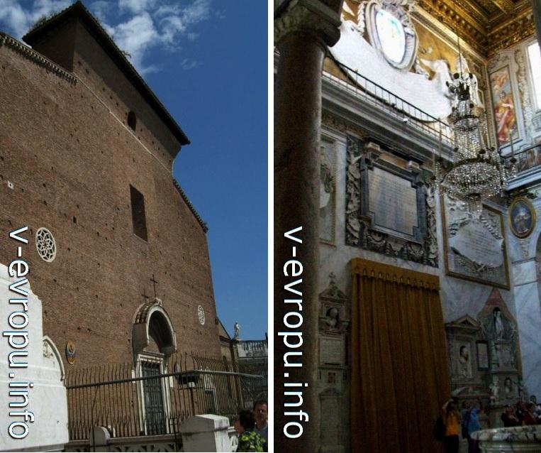 Фасад базилики Санта Мария ин Арачели (слева) и интерьер левого нефа (справа)