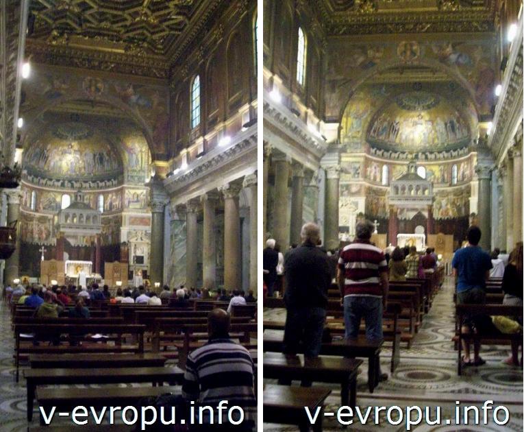 Рим. Центральный неф церкви Санта Мария ин Трастевере