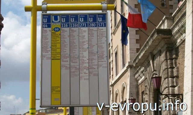 Рим: как разобраться в расписании автобусов? Обозначение автобусной остановки в Риме (с обратной стороны)