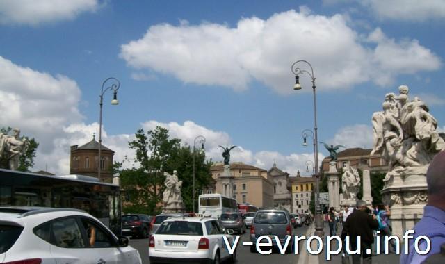 Транспорт Рима. Фото. Трафик в воскресенье в 12 часов дня из центра к Ватикану