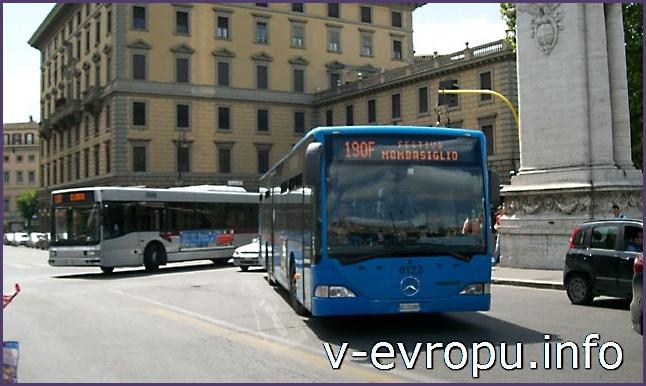 Транспорт Рима. Фото. Рейсовый автобус