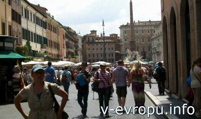 Площадь Навона в Риме. Вид на южную сторону