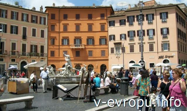 Площадь Навона в Риме. Современные художники древнего Рима