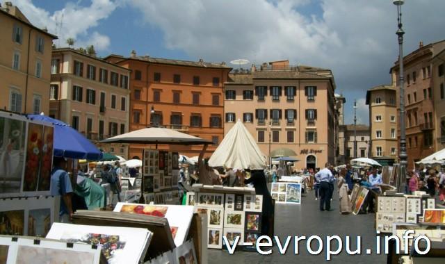 Площадь Навона в Риме - любимое место художников