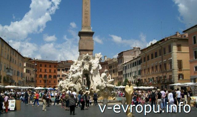 Рим: Фонтан Четырех Рек на площади Навона