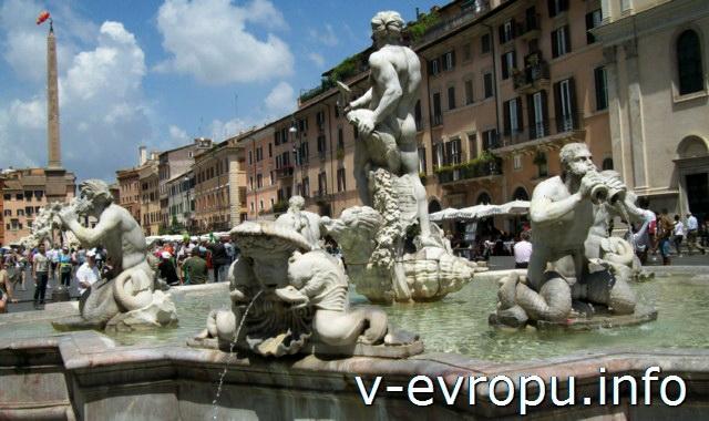 Рим. Фонтан Мавра на площади Навона