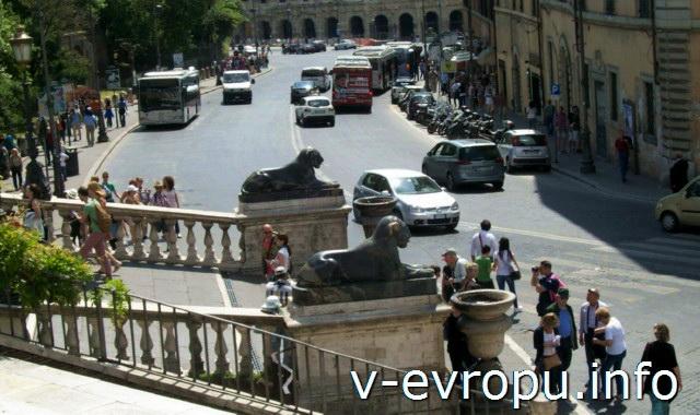 Рим. Скульптуры львов у подножия лестницы-кардонаты