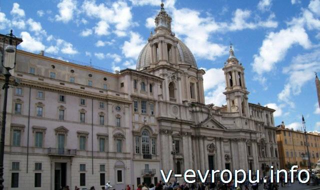 Рим: Церковь Сант Аньезе ин Агоне на площади Навона и дворец Памфили
