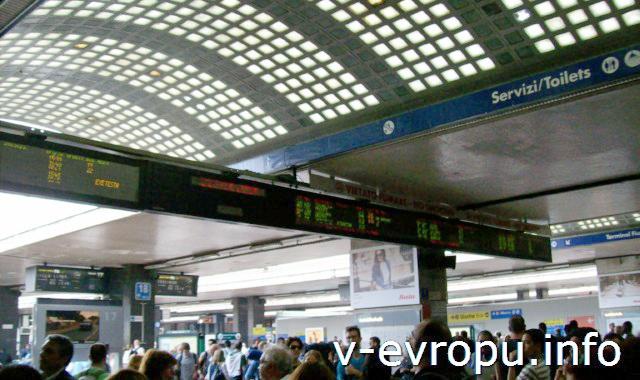 Рим. Жд вокзал Термини. Фото. Табло отправления поездов перед выходом на пратформы