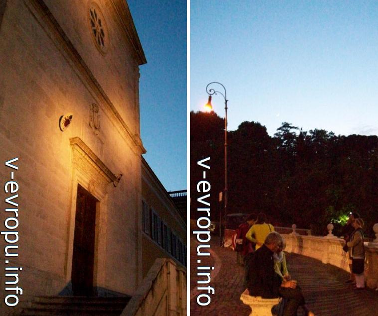 Рим ночью. Слева церковь Сан Пьетро ин Монторио, справа смотровая площадка на холме Яникул