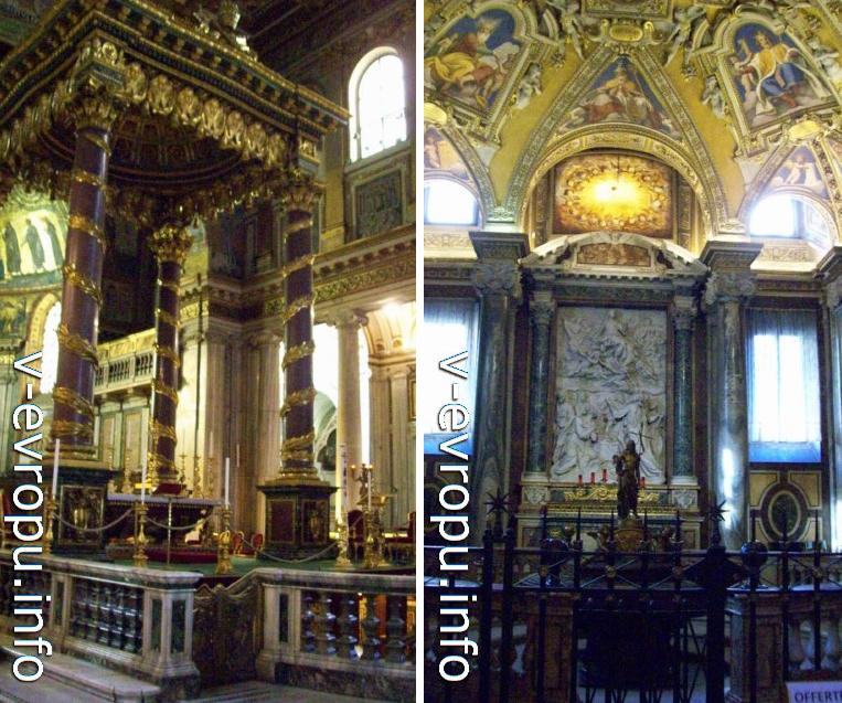 Базилика Санта Мария Маджоре. Под балдахином папского алтаря находится нижний придел с реликварием