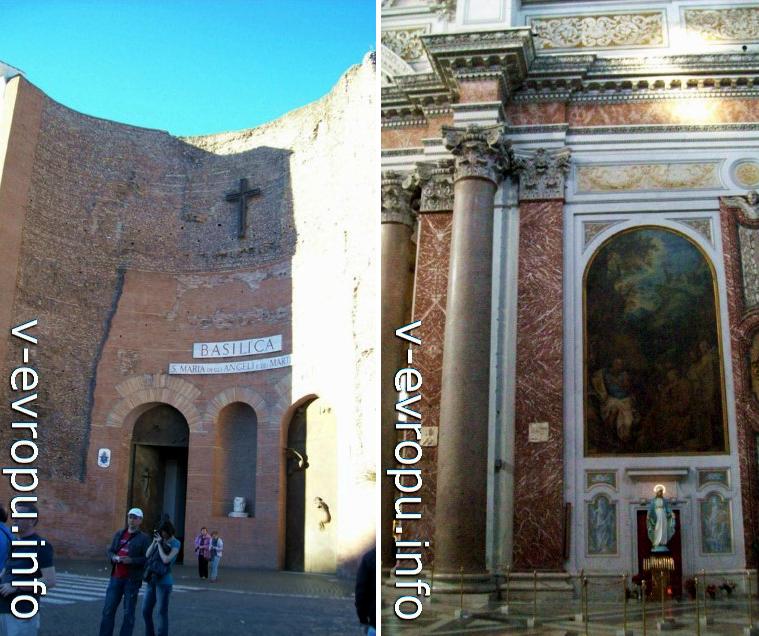 Центральный вход и коринфские колонные диоклетиановских терм церкви Санта Мария дельи Анджели э деи Мартири на площади Республики в Риме