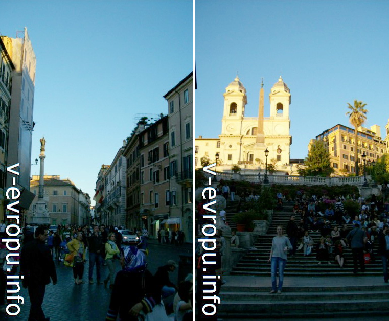 Слева колонна в ознаменование принятия догмы о Непорочном зачатии Девы Марии (1854г) на Площади Испании; справа Церковь Тринити деи Монти и Испанская Лестница, ведущая к ней