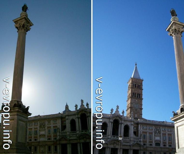 """Колонна на площади Санта Мария Маджоре (слеваа) и церковь """"Святой Марии в снегах"""""""