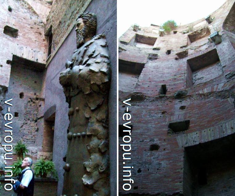 Бронзовая скульптура Галилея во внутреннем дворике церкви Санта Мария дегли Анжели (слева) и Термы Диоклетиана (справа)