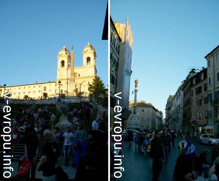 Слева: вечер на Испанской лестнице; справа Колонна на площади Испании, установленная в ознаменование принятия догмы о Непорочности Девы Марии. (Установлена в 1857 году через 3 года после принятия догмы)